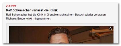 21.54 Uhr - Ralf Schumacher verlässt die Klinik - Ralf Schumacher hat die Klinik in Grenoble nach seinem Besuch wieder verlassen. Michaels Bruder wirkt mitgenommen.