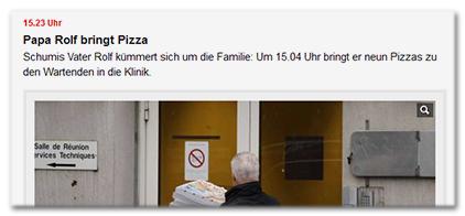 15.23 Uhr - Papa Rolf bringt Pizza - Schumis Vater Rolf kümmert sich um die Familie: Um 15.04 Uhr bringt er neun Pizzas zu den Wartenden in die Klinik.