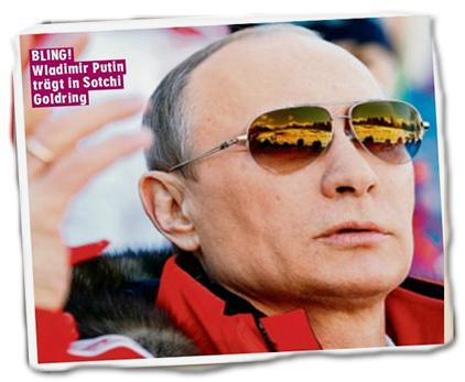 "Bildunterschrift: ""BLING! Wladimir Putin trägt in Sotchi Goldring"""