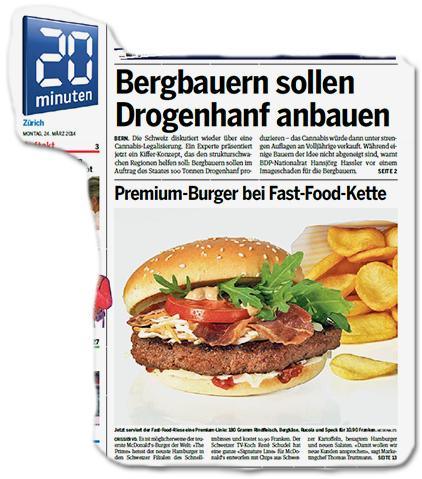"""Titelschlagzeile 1: """"Bergbauern sollen Drogenhanf anbauen"""" - Titelschlagzeile Nr. 2: """"Premium-Bruerg bei fast-Food-Kette"""""""