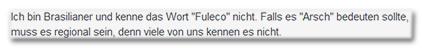"""Ich bin Brasilianer und kenne das Wort """"Fuleco"""" nicht. Falls es """"Arsch"""" bedeuten sollte, muss es regional sein, denn viele von uns kennen es nicht."""