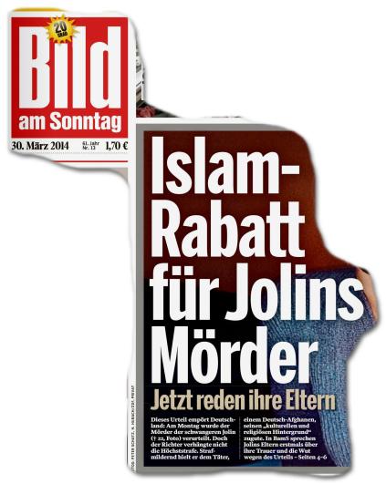 Titelseite BILD am Sonntag: Islam-Rabatt für Jolns Mörder