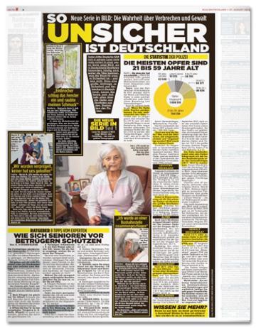 Ausriss Bild-Zeitung - So unsicher ist Deutschland - Neue Serie in Bild: Die Wahrheit über Verbrechen und Gewalt