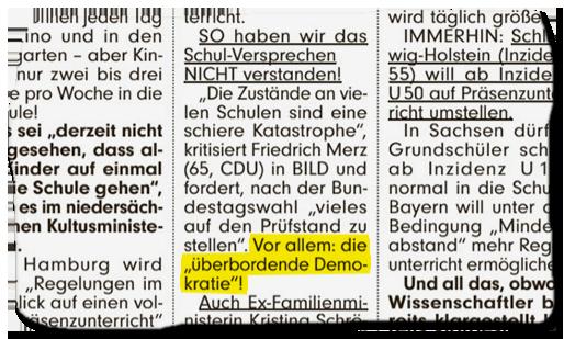 """Ausriss aus dem BILD-Artikel: So haben wir da Schul-Versprechen NICHT verstanden! """"Die zustände an vielen Schulen sind eine Katastrophe"""", kritisiert Friedrich Merz (65, CDU)in BILD und fordert, nach der Bundestagswahl """"vieles auf den Prüfstand zu stellen"""". Vor allem: die """"überbordende Demokratie""""!"""