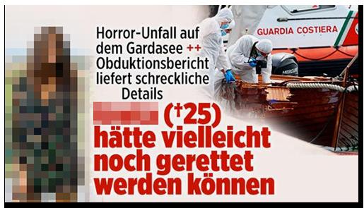Screenshot von der BILD.de-Startseite: Horror-Unfall auf dem Gardasee ++ Obduktionsbericht liefert schreckliche Details - [...] (25) hätte vielleicht noch gerettet werden können {dazu ein Foto der Ermittler, die den Tatort untersuchen, sowie ein großes Foto der verstorbenen Frau]