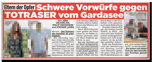 Ausriss aus BILD: Eltern der Opfer - Schwere Vorwürfe gegen TOTRASER vom Gardasee [dazu ein Foto der beiden Verdächtigen, jeweils mit schwarzem Augenbalken, sowie zwei Fotos der Verstorbenen, ohne jede Verpixelung]