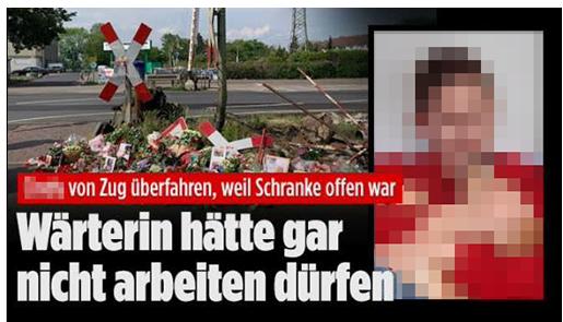 """Screenshot von BILD.de: """"[...] von Zug überfahren, weil Schranke offen war - Wärterin hätte gar nicht arbeiten dürfen"""", dazu ein Foto der 16-Jährigen und ein Foto der Unglückstelle"""