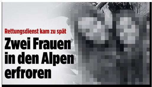 """Screenshot von BILD.de: """"Rettungsdienst kam zu spät - Zwei Frauen in den Alpen erfroren"""", dazu ein Foto der beiden Frauen"""