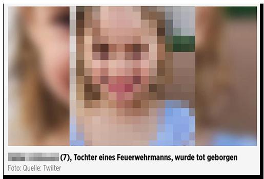 """Screenshot von BILD.de: Ein Foto des lachenden Mädchens, dazu die Bilunterschrift """"[...] (7),Tochter eines Feuerwehrmanns, wurde tot geborgen"""", darunter: """"Foto: Quelle: Twiiter"""""""