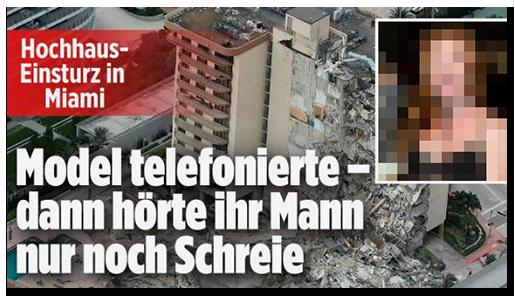 """Screenshot von BILD.de: """"Hochhaus-Einsturz in Miami - Model telefonierte - dann hörte ihr Mann nur noch Schreie"""", dazu ein Porträtfoto der Frau und eine Luftaufnahme des eingestürzten Gebäudes"""
