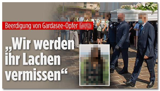"""Beerdigung von Gardasee-Opfer [...] - 'Wir werden ihr Lachen vermissen'"""", dazu ein Foto, auf dem ihr Sarg getragen wird sowie das Foto von ihr vor der grünen Landschaft"""