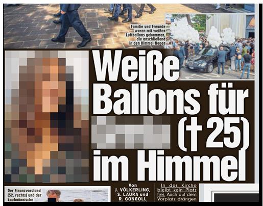 """Ausriss aus der BILD-Zeitung: """"Weiße Ballons für [...] (✝25) im Himmel, dazu Fotos der Beerdigung und ein großes Porträtfoto der Frau"""