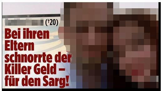 """Screenshot von BILD.de: """"Bei ihren Eltern schnorrte der Killer Geld - für den Sarg!"""", dazu ein großes Foto der beiden, auf dem sie ihren Kopf auf seine Schulter legt"""