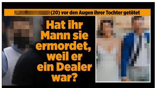 """Screenshot von BILD.de: """"[...] (20) vo den Augen ihrer Tochter getötet - Hat ihr Mann sie ermordet, weil er ein Dealer war?"""", dazu ein Foto des Mannes im Justizgewahrsam sowie ein Hochzeitsfoto des Paares"""