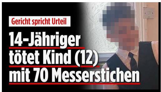 """Screenshot von der BILD.de-Startseite: """"Gericht spricht Urteil - 14-Jähriger tötet Kind (12) mit 70 Messerstichen"""", dazu ein Foto des Jungen"""