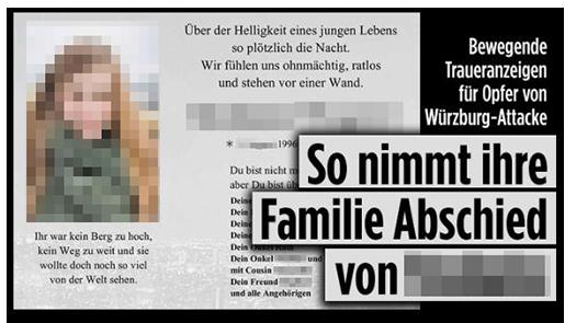 """Screenshot von der BILD.de-Startseite: """"Bewegende Traueranzeigen für Opfer von Würzburg-Attacke - So nimmt ihre Familie Abschied von [...]"""", dazu die Traueranzeige für die Frau, auf der auch ein Porträtfoto von ihr zu sehen ist"""