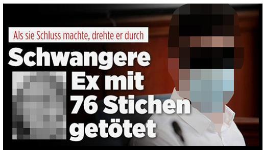"""Screenshot von der BILD.de-Startseite: """"Als sie Schluss machte, drehte er durch - Schwangere Ex mit 76 Stichen getötet"""", dazu ein Foto des Verdächtigen vor Gericht sowie ein Foto der jungen Frau"""