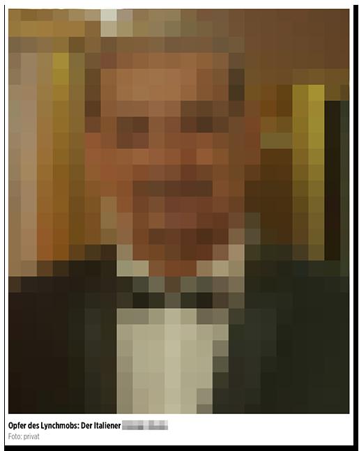 """Screenshot von BILD.de: Großes Foto eines Mannes, dazu die Bildunterschrift: """"Opfer des Lynchmobs: Der Italiener [...]"""""""