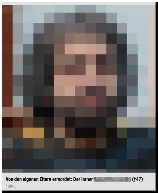 """Screenshot von BILD.de: Großes Foto eines Mannes, dazu die Bildunterschrift: """"Von den eigenen Eltern ermordet: Der Iraner [...] (†47)"""""""