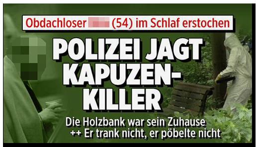 """Screenshot von der BILD.de-Startseite. Große Schlagzeile: """"Polizei jagt  Kapuzen-Killer"""", dazu das Foto des Obdachlosen sowie das Foto der Forensiker an der Parkbank"""