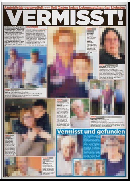 """Ausriss aus der BILD-Zeitung: """"Angehörige verzweifelt +++ Seit Tagen keine Lebenszeichen der Liebsten - VERMISST"""", dazu Fotos von zwölf Menschen, die vermisst werden"""