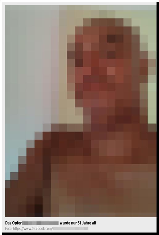 """Screenshot von BILD.de: Ein Selfie eines Mannes, dazu die Bildunterschrift: """"Das Opfer [...] wurde nur 51 Jahre alt"""""""