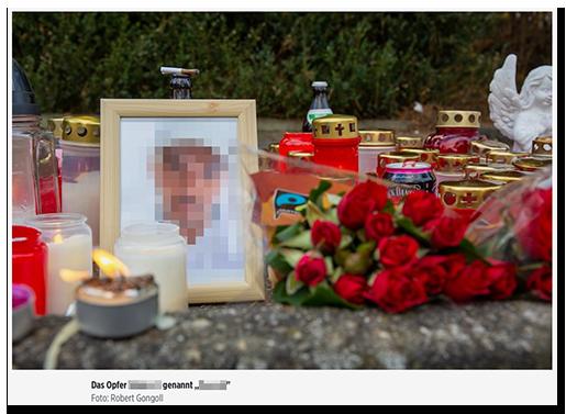 Screenshot von BILD.de: Das eingerahmte Foto eines Mannes, das auf dem Boden steht, umgeben von Kerzen und Blumen.