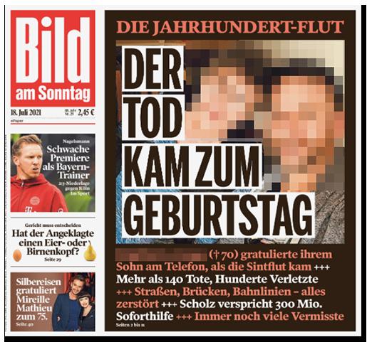 """Titelseite der BILD am SONNTAG: """"DIE JAHRHUNDERT-FLUT - DER TOD KAM ZUM GEBURTSTAG"""" - dazu ein großes Foto einer Frau (und ihres Sohnes), die bei den Überschwemmungen ums Leben kam"""