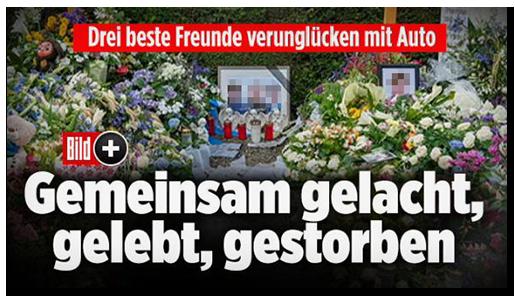 """Screenshot von der BILD.de-Startseite: """"Drei beste Freunde verunglücken mit Auto - Gemeinsam gelacht, gelebt, gestorben"""", dazu ein eingerahmtes Foto der drei jungen Männer, das umgeben von Blumen auf einem Friedhof steht, sowie das Bild-Plus-Logo"""