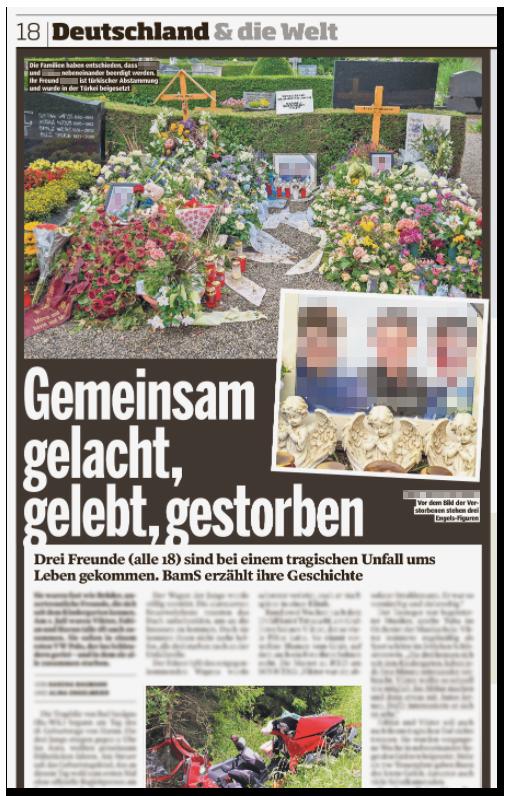 """Screenshot von der BILD.de-Startseite: """"Drei beste Freunde verunglücken mit Auto - Gemeinsam gelacht, gelebt, gestorben"""", dazu ein eingerahmtes Foto der drei jungen Männer, das umgeben von Blumen auf dem Grab steht, dazu ein weiteres Foto, auf dem man die Gesichter in Großaufnahme erkennt"""