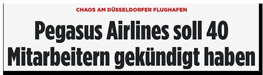 """Screenshot von BILD.de: """"Chaos am Düsseldorfer Flughafen - Pegasus Airlines soll 40 Mitarbeitern gekündigt haben"""""""