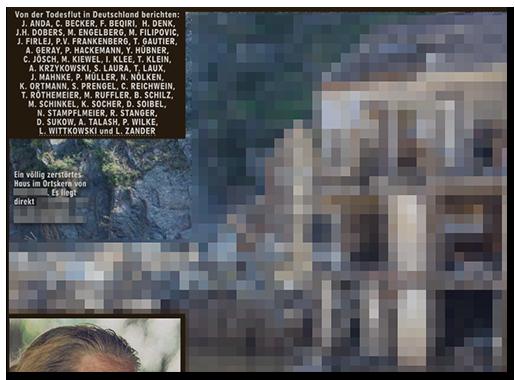 """Ausriss aus der BILD-Zeitung: Neben einer Auflistung von fast 40 Autoren (""""Von der Todesflut in Deutschland berichten: ..."""") das Foto eines zerstörten Hauses, dazu die Bildunterschrift: """"Ein völlig zerstörtes Huas im Ortskern von [...]. Es liegt direkt [...]"""""""
