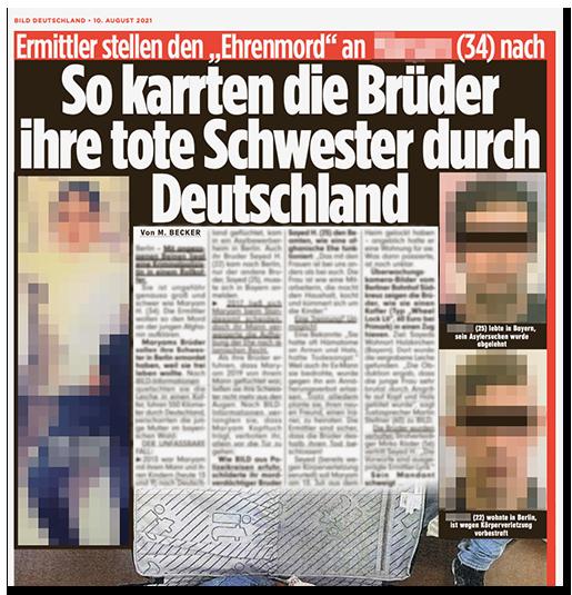 """Ausriss aus der BILD-Zeitung: """"Ermittler stellen den 'Ehrenmord' an [...] (34) nach - So karrten die Brüder ihre tote Schwester durch Deutschland"""", dazu ein großes Foto der Frau sowie zwei Fotos der Brüder"""