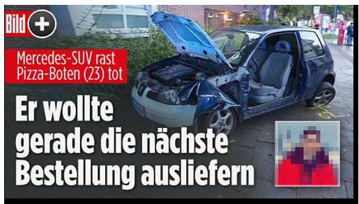 """Screenshot von der BILD.de-Startseite: """"Mercedes-SUV rast Pizza-Boten (23) tot - Er wollte gerade die nächste Bestellung ausliefern"""", dazu ein Foto des zerstörten Wagens, ein Porträtfoto des Mannes sowie das Bild-lus-Logo"""