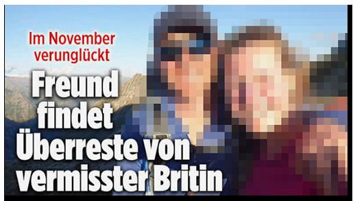 """Screenshot von der BILD.de-Startseite: """"Im November verunglückt - Freund findet Überreste von vermisster Britin"""", dazu ein großes Foto des Paares"""