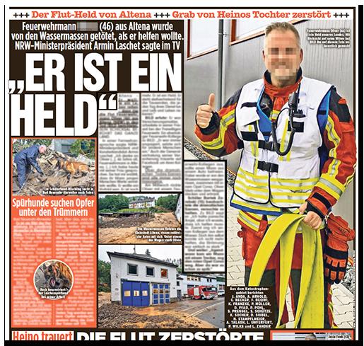 """Ausriss aus der BILD-Zeitung: """"Feuerwehrmann [...] (46) aus Altena wurde von den Wassermassen getötet, als er helfen wollte. NRW-Ministerpräsident Armin Laschet sagte im TV: """"ER IST EIN HELD"""" - dazu ein großesFoto des Feuerwehrmanns, der ein """"Daumen Hoch"""" gibt.Sein Gesicht ist verpixelt."""