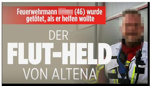 """Screenshot von BILD.de: """"Feuerwehrmann [...] (46) wurde getötet, als er helfen wollte - DER FLUT-HELD VON ALTENA"""""""
