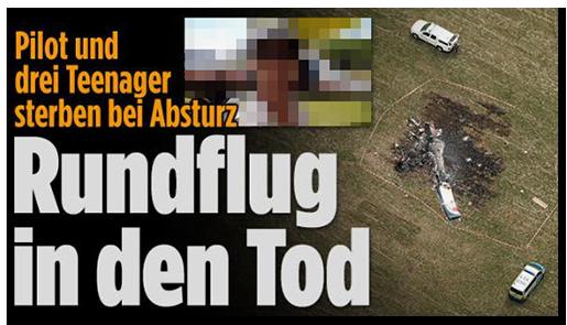 """Screenshot von der BILD.de-Startseite: """"Pilot und drei Teenager sterben bei Absturz - Rundflug in den Tod"""", dazu ein Foto der Trümmer an der Unglücksstelle sowie ein Foto des Piloten"""
