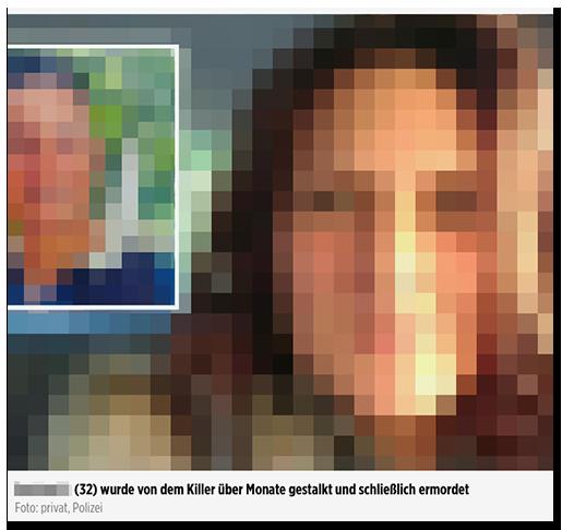"""Screenshot von BILD.de: Ein großes Foto einer Frau und ein kleineres Foto eines Mannes, dazu die Bildunterschrift: """"[...] (32) wurde von ihrem Killer über Monate hinweg gestalkt und schließlich ermordet"""""""
