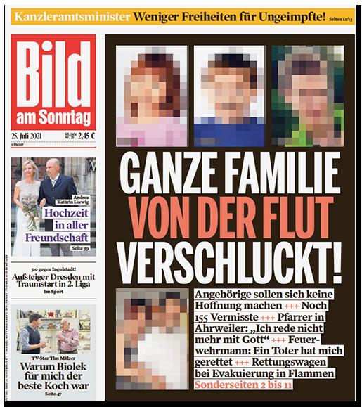 """Titelseite der BILD am SONNTAG: """"GANZE FAMILIE VON DER FLUT VERSCHLUCKT"""", dazu ein Foto der Eltern sowie drei Fotos der Kinder"""