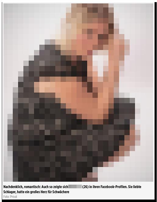 """Screenshot von BILD.de: Ein Foto einer Frau, dazu die Bildunterschrift: """"Nachdenklich, romantisch: Auch so zeigte sich [...] (26) in ihren Facebook-Profilen. Sie liebte Schlager, hatte ein großes Herz für Schwächere"""" """"Foto: Privat"""""""
