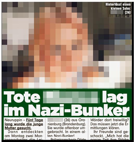 """Ausriss aus der BILD-Zeitung: """"Tote [...] lag im Nazi-Bunker"""", dazu ein Foto der Frau"""
