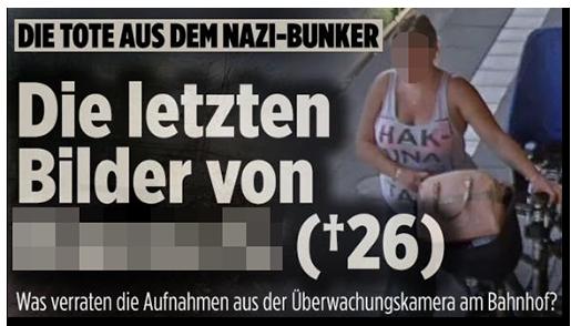 """Screenshot von der BILD.de-Startseite: """"Die Tote aus dem Nazi-Bunker - Die letzten Bilder von [...] (26) - Was verraten die Aufnahmen aus der Überwachungskamera am Bahnhof?"""", dazu ein Foto der Überwachungskamera, auf dem die Frau zu sehen ist"""