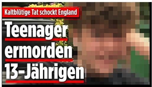 """Screenshot von der BILD.de-Startseite: """"Kaltblütige Tat schockt England - Teenager ermorden 13-Jährigen"""", dazu ein großes Foto des Jungen"""