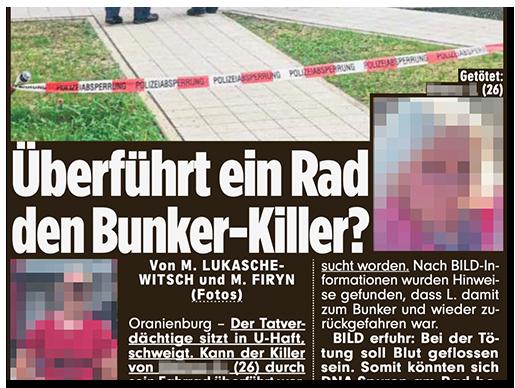 """Ausriss aus der BILD-Zeitung: """"Überführt ein Rad den Bunker-Killer?"""", dazu ein Foto des Mannes bei der Festnahme sowie ein Foto der Frau"""