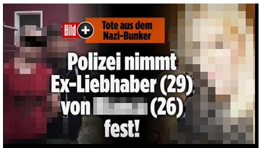 """Screenshot von der BILD.de-Startseite: """"Tote aus dem Nazi-Bunker - Polizei nimmt Ex-Liebhaber (29) von [...] (26) fest!"""", dazu ein Foto des Mannes bei der Festnahme sowie ein Foto der Frau und das Bild-Plus-Logo"""