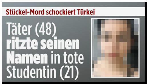"""Screenshot von der BILD.de-Startseite: """"Stückel-Mord schockiert Türkei - Täter (48) ritzte seinen Namen in tote Studentin (21)"""", dazu ein Foto der Frau"""