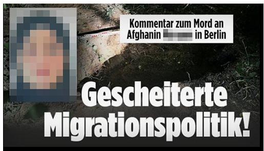 """Screenshot von der BILD.de-Startseite: """"Kommentar zum Mord an Afghanin [...] in Berlin - Gescheiterte Migrationspolitik!"""", dazu ein Foto der Frau sowie als Hintergrundbild ein Foto des Erdlochs, in dem die Leiche der Frau gefunden wurde"""