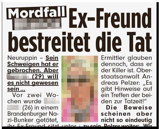 """Ausriss aus der BILD-Zeitung: """"Mordfall [...] - Ex-Freund bestreitet die Tat"""", dazu ein Foto der Frau"""