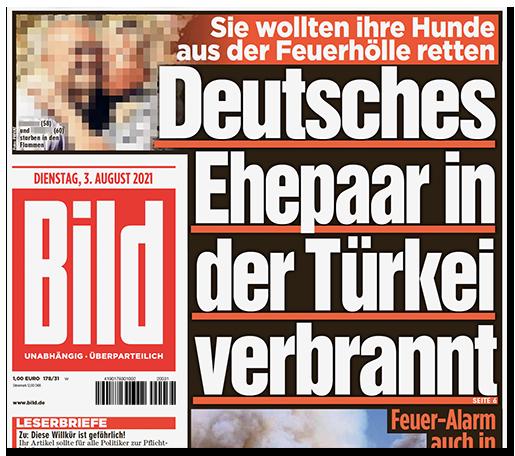 """Titelseite der BILD-Zeitung: """"Sie wollten ihre Hunde aus der Feuerhölle retten - Deutsches Ehepaar in der Türkei verbrannt"""", dazu ein Foto des Paares"""